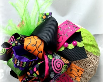 Funky Halloween Baby Headband, Funky Headband, Funky Bow, Funky Hair Bow, Halloween Bow, Halloween Headband, Over the Top Bow, Feather Bow