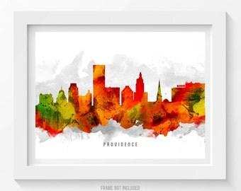Providence Rhode Island Skyline Poster, Providence Cityscape. Providence Art, Providence Decor, Home Decor, Gift Idea 15