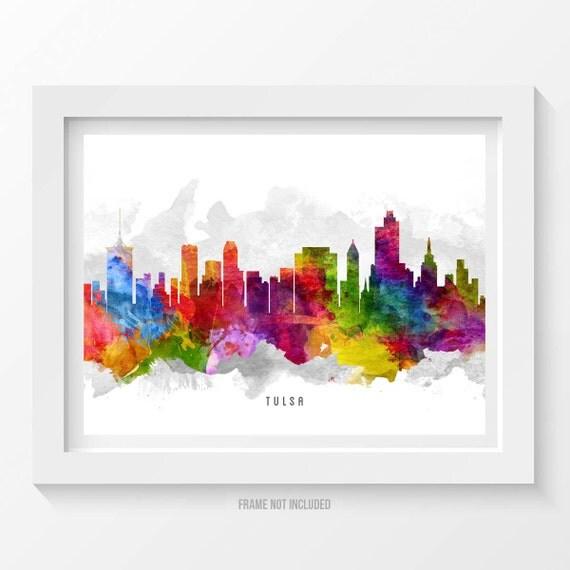 Home Decor Tulsa: Tulsa Oklahoma Skyline Tulsa Cityscape Tulsa Print Tulsa
