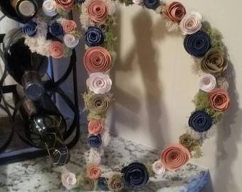 Initial- floral initial- wedding gift -bridal shower- monogram