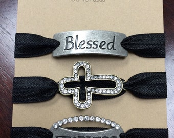 Made to order charm bracelets. Blessed, Cross or Fearless