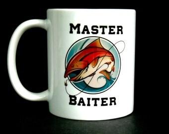 master baiter, funny dad gift, fathers day, fishing, fisherman, gift for fisherman, funny fisherman gift, fishing gift, lake house, dad, mug