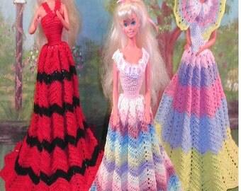 Crochet Fashion Doll Barbie Pattern- #382 RIPPLE GOWNS
