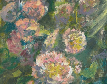 Ruffled Hollyhocks Pink En Plein Air Rectangle Wall Art Original Painting 6 by 8 Mixed Media Acrylic