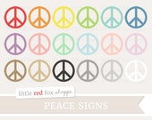 Peace Sign Clipart, Symbol Clip Art Retro Hippie Hipster 70's 60's Spiritual Love Tag Label Cute Digital Graphic Design Small Commercial Use