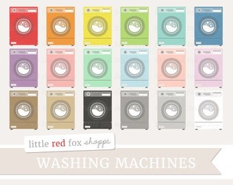 Washing Machine Clipart, Laundry Clip Art Washer Machines Dryer Icon Wash Clothes Clothing Cute Digital Graphic Design Small Commercial Use