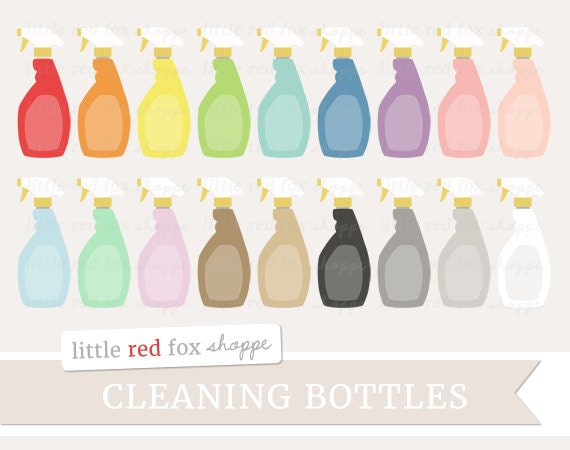 Cleaning Bottle Clipart Spray Clip Art Clean Kitchen Bath Window Glass Cleaner Cute Digital Graphic Design Small Commercial Use