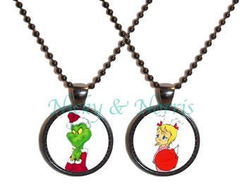 The Grinch and Cindy Lou Necklaces - Made to Order - Best Friend Necklace Set