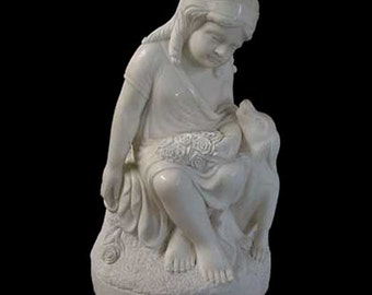 69.4522 Marble Statue of Little Girl with Dog.