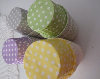 "Polka dot party cups, nut cups, mini cupcake cups 2"" x 1.5"" - 24 pieces"
