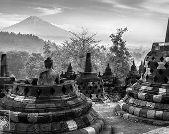 Borobudur Buddhist temple, Java, Indonesia - Unframed Black & White Photo Print (3 Sizes Available)