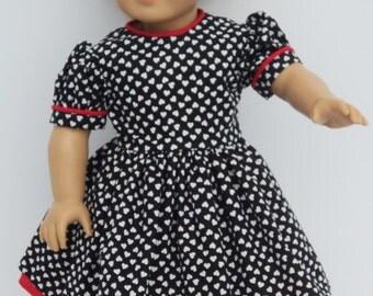 """Valentines Doll Dress - Black Red Doll Dress - Doll Dress - Heart Doll Dress - Doll Dress - 18 inch Doll Dress - 18"""" Doll Dress"""