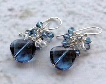 Tracey - Swarovski Crystal, Dangle Earrings, Blue Denim, Twist Crystal, Sterling Silver Finding & Earwires
