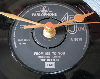"""The Beatles from me to you   7"""" vinyl record clock"""