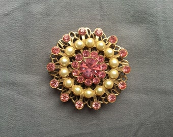 Starburst pin with pink rhinestones, faux pearls