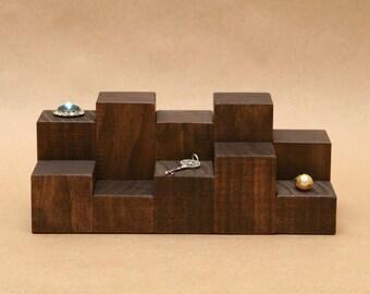 Ring Display Riser / Mini Wooden Riser / Figurine Display / Solid Wood Jewelry Display / Cuff Link Display / Tie Clip Display / R010