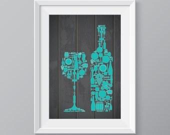 Teal Wine decor, Wine, wine poster, red wine, wine art, wine set, wine print, wine poster, wine decoration, wine decor, wine, bottle of wine