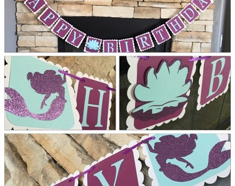MERMAID HAPPY BIRTHDAY banner, under the sea birthday banner,silhouette mermaid party, mermaid party decor,under the sea party decor