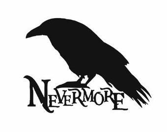 Nevermore Raven Halloween Decal:  Edgar Allan Poe Poem, Raven Quote, Halloween Decor, Scary Decor, Holiday Decorations, Haunted House