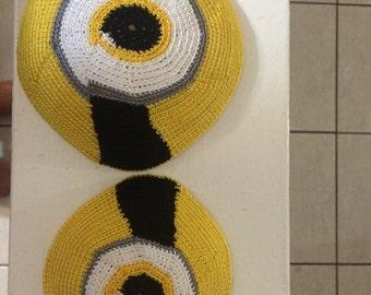 Hand crochet Daddy & Me Minion Kippah