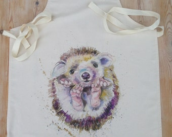 Adult HEDGEHOG 100% Cotton Apron , contemporary designer apron made in uk