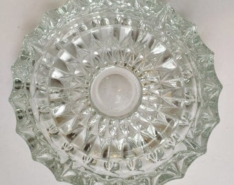 Large and Heavy Round Cut Glass Ashtray