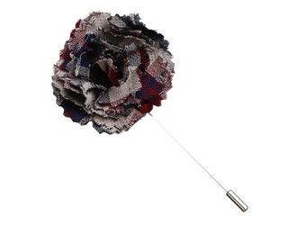 Gray, Maroon and Navy Blue Plaid Lapel Flower Pin