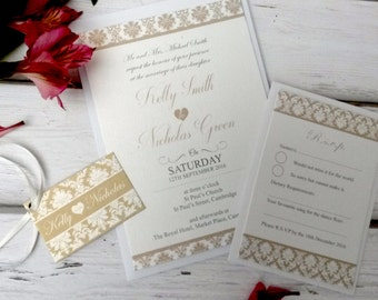 Personalised Vintage Damask Wedding Invitations With RSVP Card, Envelopes & Tags