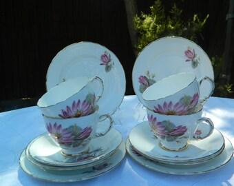 Beautiful Pink Vintage Floral Delphine Bone China Tea Set x 4 Trios