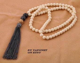 Tassel Necklace - Long Tassel Necklace - Vintage Necklace - Bohemian Necklace - Beaded Tassel Necklace - Fringe Necklace - Boho Necklace