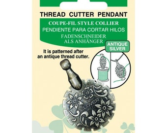 Clover Thread Cutter Pendant - Antique Gold or Antique Silver