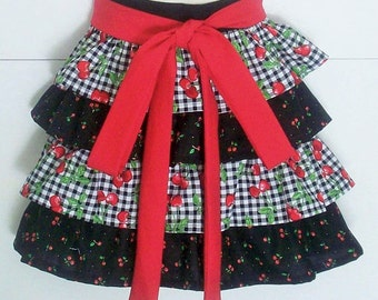 Retro Half Apron, Black Gingham, Cherry, Cherries, Red and Black, Ruffled Apron, Cherry, Ruffles, KitschNStyle