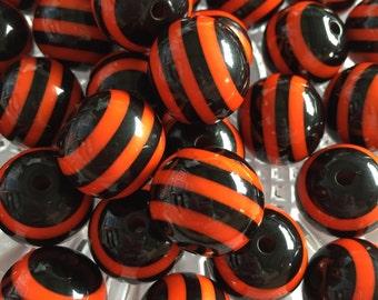 Orange & Black 20mm Striped Beads - 10pc Chunky Bubblegum Beads