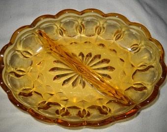 Anchor Hocking Amber Relish Dish - Fairfield Pattern
