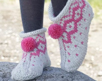Hand Knitted Slippers with Cables