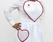 Hearts and Pinstripe Heart Apron, Womens Heart Bib and Pocket Apron, Love to Cook Kitchen Apron, 100% Proceeds to Womens Charity in Mexico