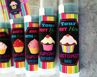 Cupcake Lip Balm Party Favor - Set of 5 - FREE Customization - Cupcake Party Decorations - Cupcake Birthday - Cupcake Wars Party - Cupcakes