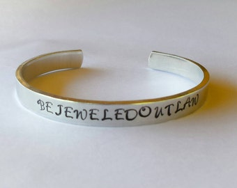 NEW Hand stamped cuff bracelet ~ 12 gauge 10.00 each ~ Great Christmas  gifts, teacher gifts, bridesmaid gifts, birthday gifts