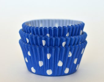 Blue Polka Dot Cupcake Liners // Blue Baking Cups (Qty 50)