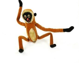 Rare 1961 Hanging Monkey R. Dakin & Co. Made in Japan Doll Toy Brown Orange Black Face Funny Cute Hang Adjustable Plush