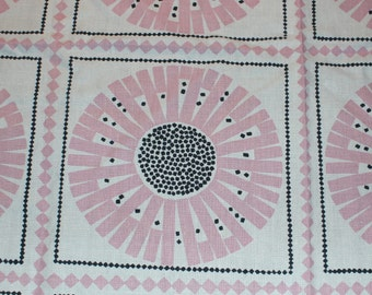 Adorable vintage retro square Tablecloth with printed floral pattern in pink and black. Made in Sweden Scandinavian