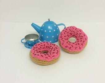 Play Food Crochet Pink Donut, Gift, Amigurumi