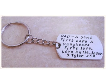 Personalised keyring/keychain. Dog tag.