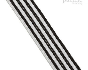 "1"" Black & White Striped Elastic Band :130626"