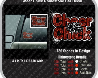Cheer Chick Rhinestone Car Decal