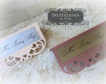Wedding Laser Cut Place Card- Swirl Style