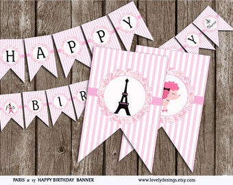 Paris Banner, Paris Birthday banner, party banner, Eiffel  Banner printable, Instant Download PDF