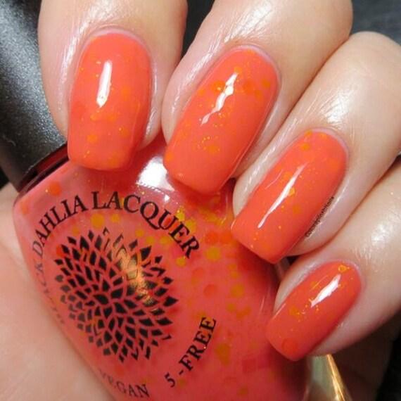 Coral Orange Glitter Crelly Nail Polish Dandelion