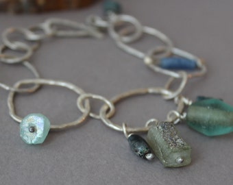 Ancient Roman Glass Charm Bracelet, Organic Handmade Fused Fine Silver Chain Bracelet, Rustic, Primitive, Handmade
