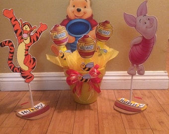 Extra Large Winnie the Pooh inspired Centerpiece with Marshmallows, Birthday party, baby shower centerpiece
